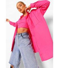 katoenen poplin bralette en oversized blouse set, hot pink