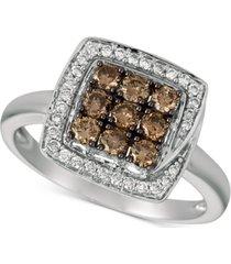 le vian chocolatier diamond square halo cluster ring (5/8 ct. t.w.) in 14k white gold