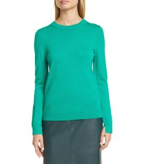 women's boss fegan merino wool knit sweater, size medium - green