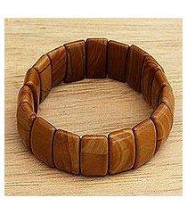 jasper beaded stretch bracelet, 'darling earth' (brazil)
