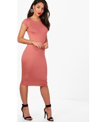 cap sleeve jersey bodycon midi dress, antique rose
