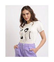 """t-shirt feminina mindset bonecos"""" manga curta decote redondo off white"""""""