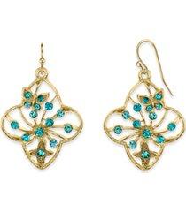 2028 gold-tone aqua filigree flower drop earrings