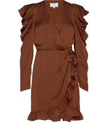 laura wrap dress kort klänning brun designers, remix