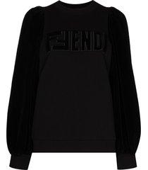 fendi ribbed sleeve sweatshirt - black