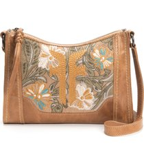 frye melissa embroidery floral crossbody bag - beige