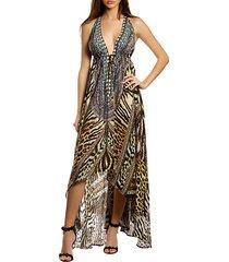 animal-print high-low halter dress