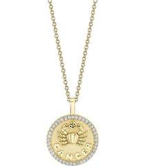 18k yellow gold small cancer zodiac pendant