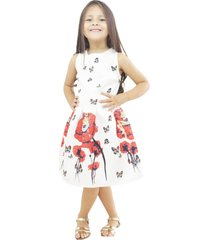 vestido blanco flor roja vt-00204