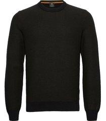 arubyno stickad tröja m. rund krage svart boss