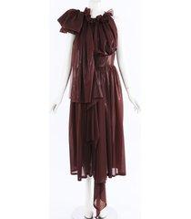 maticevski odallam red vinyl ruffle dress red sz: l