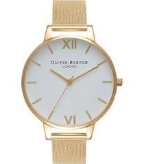 olivia burton women's gold-tone stainless steel mesh bracelet watch 38mm
