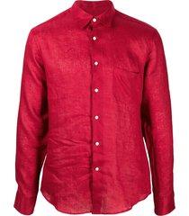 peninsula swimwear crinkled effect chest pocket shirt - red