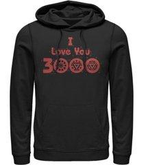 marvel men's avengers endgame i love you 3000 circuits, pullover hoodie