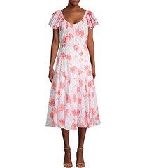 louise floral midi a-line dress