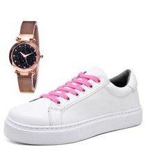 tênis sapatênis casual com relógio gold feminino dubuy 311mr branco