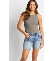 maurices womens high rise light wash fray hem 6in shorts blue