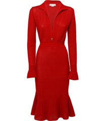 genny red stretch-knit midi dress