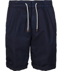 blue linen-cotton blend shorts