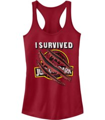 fifth sun jurassic park women's i survived claw marks on logo racerback tank top
