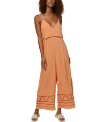 o'neill juniors' mateo lace-inset jumpsuit
