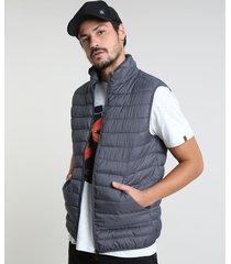 colete puffer masculino básico com bolsos e gola alta chumbo