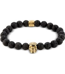 northskull designer men's bracelets, lavastone & perforated gold skull charm bracelet
