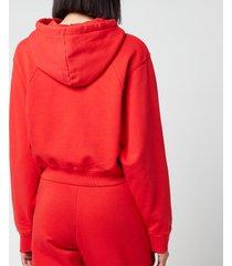 rotate birger christensen women's viola cropped hoodie - flame scarlet - m