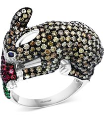 effy multi-gemstone (5/8 ct. t.w.) & diamond (3-5/8 ct. t.w.) bunny ring in 14k white gold