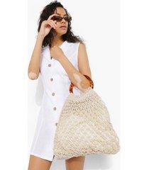 geweven tas met macrame top en hengsel, white