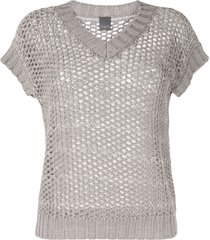 lorena antoniazzi open knit crochet t-shirt - grey