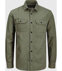 camisa jack & jones jcocornwall shirt ls worker verde - calce regular