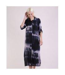 vestido chemise feminino midi estampado tie dye manga 3/4 azul marinho