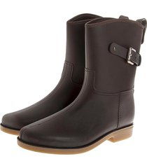 botas de lluvia mediana impermeable top buckle bottplie - cafe