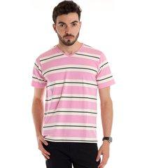 camiseta decote v manga curta rosa