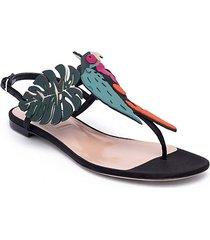 valentino garavani tropical dream leather & suede thong sandals