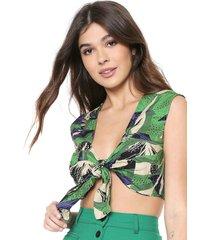 blusa cropped colcci ajustado tropical verde