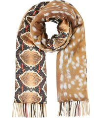 burberry check and animal-print scarf - neutrals