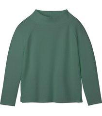 sweatshirt van bio-katoen met raatstructuur en opstaande kraag, zeegras 44