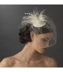 anya women's bridal birdcage veil bridal hat with swarovski crystal-white