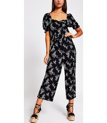 river island womens black floral shirred waist jumpsuit