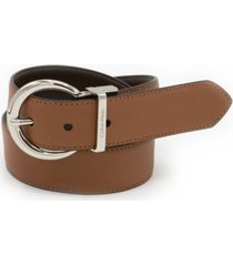 calvin klein plus size 35mm reversible stitched feather-edge belt