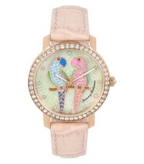 tommy bahama women's lovebirds paradise pink leather strap watch, 38mm