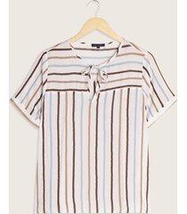 blusa manga corta estampada con anudado en frente-xxl