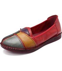 retro splicing in pelle slip on lazy casual piatto loafers