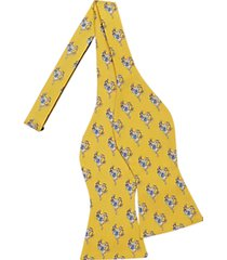 tommy hilfiger yellow racehorse pattern self-tie bow tie