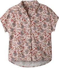 blouse met korte mouw en bloemenprint, kastanje-motief 44