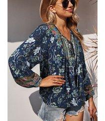 camicetta con stampa floreale a maniche lunghe annodata con scollo a v vacanze