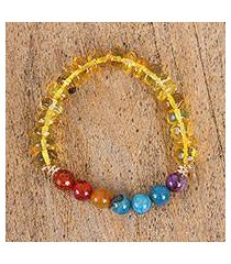 amber and agate stretch bracelet, 'agate rainbow' (mexico)
