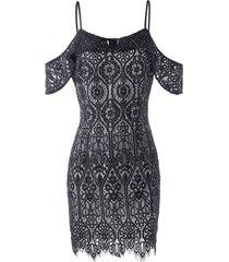 cold shoulder eyelash lace mini bodycon dress